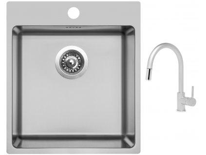 Nerezový dřez Sinks BLOCKER 450 V 1mm kartáčovaný + Dřezová baterie Sinks MIX 35 P matná  + Čistící pasta Sinks na dřezy