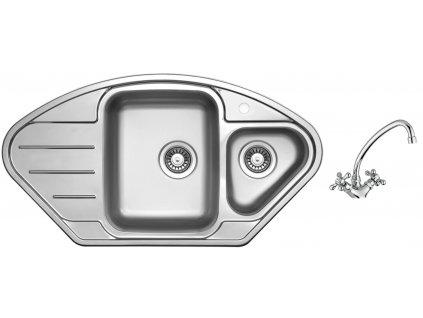 Nerezový dřez Sinks LOTUS 945.1 V 0,8mm leštěný + Dřezová baterie Sinks RETRO 1000 chrom beztlaková