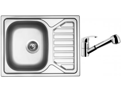 Nerezový dřez Sinks OKIO 650 V 0,6mm texturovaný + Dřezová baterie Sinks LEGENDA S Chrom