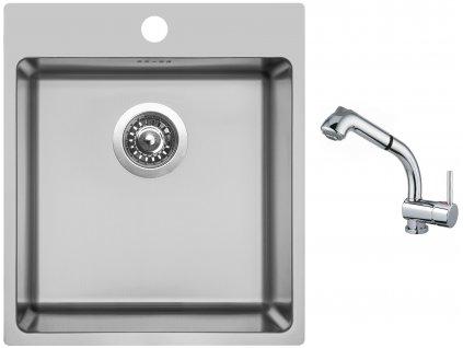 Nerezový dřez Sinks BLOCKER 450 V 1mm kartáčovaný + Dřezová baterie Sinks MIX 3 S Chrom  + Čistící pasta Sinks na dřezy