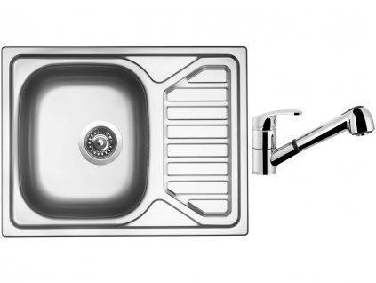 Nerezový dřez Sinks OKIO 650 V 0,6mm leštěný + Dřezová baterie Sinks LEGENDA S Chrom