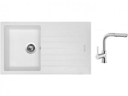 Granitový dřez Sinks PERFECTO 860 Milk + Dřezová baterie Sinks ENIGMA S chrom