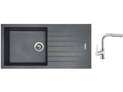 Granitový dřez Sinks PERFECTO 1000 Titanium + Dřezová baterie Sinks ENIGMA S chrom  + Čistící pasta Sinks na dřezy