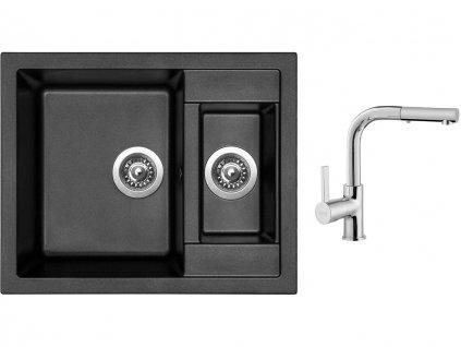 Granitový dřez Sinks CRYSTAL 615.1 Metalblack + Dřezová baterie Sinks ENIGMA S chrom  + Čistící pasta Sinks na dřezy