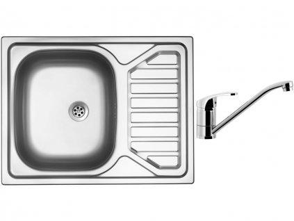 Nerezový dřez Sinks OKIO 650 M 0,6mm matný + Dřezová baterie Sinks PRONTO chrom