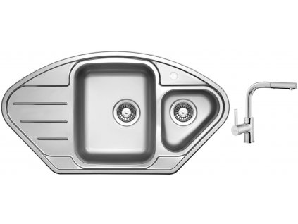 Nerezový dřez Sinks LOTUS 945.1 V 0,8mm leštěný + Dřezová baterie Sinks ENIGMA S chrom