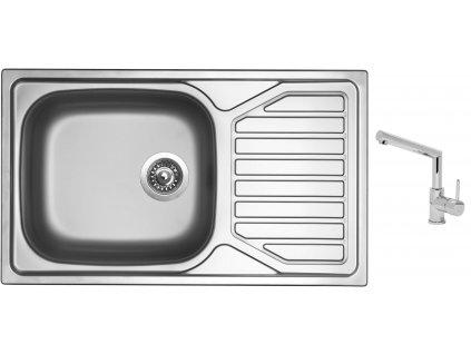 Nerezový dřez Sinks OKIO 860 XXL V 0,6mm matný + Dřezová baterie Sinks MIX 350 P chrom