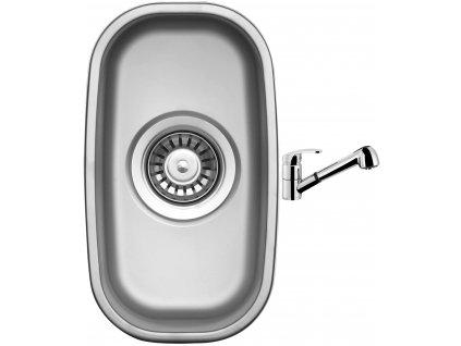 Nerezový dřez Sinks UNDERMOUNT 195 V matný + Dřezová baterie Sinks LEGENDA S Chrom