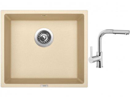 Granitový dřez Sinks FRAME 457 Sahara + Dřezová baterie Sinks ENIGMA S chrom  + Čistící pasta Sinks na dřezy