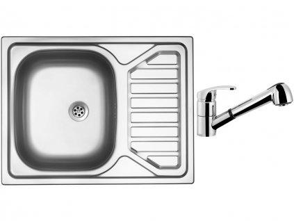 Nerezový dřez Sinks OKIO 650 M 0,6mm matný + Dřezová baterie Sinks LEGENDA S Chrom