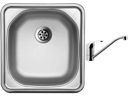 Nerezový dřez Sinks COMPACT 435 M 0,5mm matný + Dřezová baterie Sinks PRONTO chrom