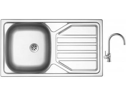 Nerezový dřez Sinks OKIO 780 M 0,5mm matný + Dřezová baterie Sinks VITALIA chrom