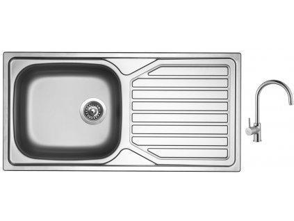 Nerezový dřez Sinks OKIO 1000 XXL V 0,6mm matný + Dřezová baterie Sinks VITALIA chrom