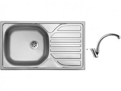 Nerezový dřez Sinks COMPACT 760 M 0,5mm matný + Dřezová baterie Sinks baterie EVERA chrom