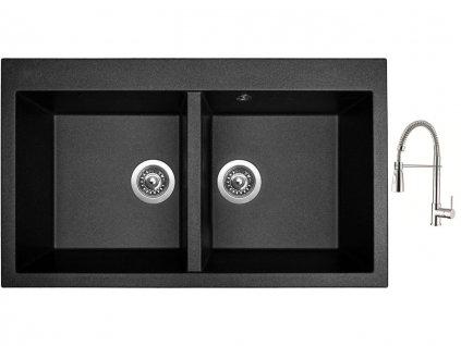 Granitový dřez Sinks AMANDA 860 DUO Metalblack + Dřezová baterie Sinks MIX 35 PROF S chrom  + Čistící pasta Sinks na dřezy