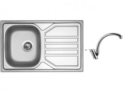 Nerezový dřez Sinks OKIO 800 V 0,7mm leštěný + Dřezová baterie Sinks baterie EVERA chrom