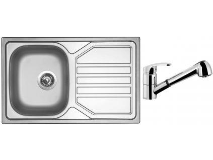 Nerezový dřez Sinks OKIO 800 V 0,7mm leštěný + Dřezová baterie Sinks LEGENDA S Chrom