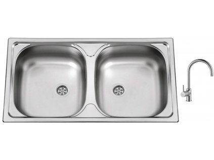 Nerezový dřez Sinks OKIO 780 DUO M 0,5mm matný + Dřezová baterie Sinks VITALIA chrom