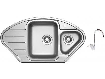 Nerezový dřez Sinks LOTUS 945.1 V 0,8mm leštěný + Dřezová baterie Sinks RETRO 54 lesklá