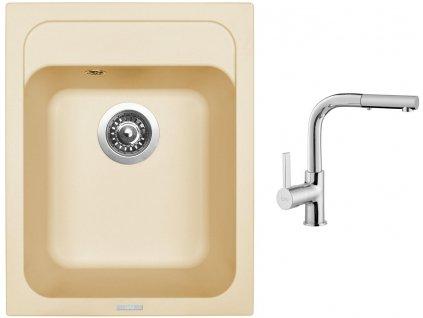 Granitový dřez Sinks CLASSIC 400 Sahara + Dřezová baterie Sinks ENIGMA S chrom