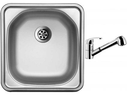 Nerezový dřez Sinks COMPACT 435 M 0,5mm matný + Dřezová baterie Sinks LEGENDA S Chrom