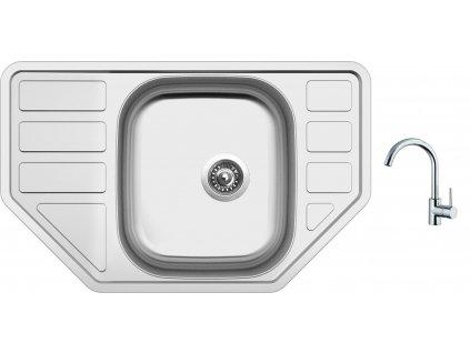 Nerezový dřez Sinks CORNO 770 V 0,6mm matný + Dřezová baterie Sinks MIX 35 chrom
