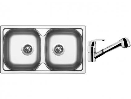 Nerezový dřez Sinks OKIO 780 DUO V 0,5mm leštěný + Dřezová baterie Sinks LEGENDA S Chrom