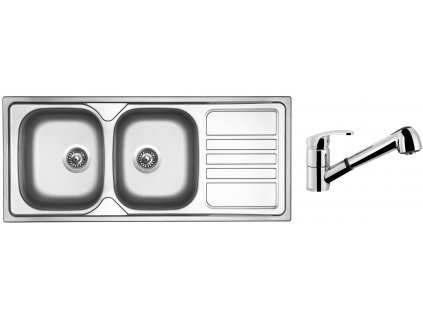 Nerezový dřez Sinks OKIO 1160 DUO V 0,6mm matný + Dřezová baterie Sinks LEGENDA S Chrom