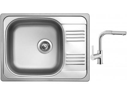 Nerezový dřez Sinks GRAND 652 V 0,8mm leštěný + Dřezová baterie Sinks ENIGMA S chrom