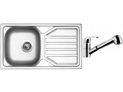 Nerezový dřez Sinks OKIO 780 V 0,5mm leštěný + Dřezová baterie Sinks LEGENDA S Chrom
