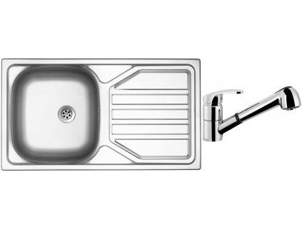 Nerezový dřez Sinks OKIO 780 M 0,5mm matný + Dřezová baterie Sinks LEGENDA S Chrom