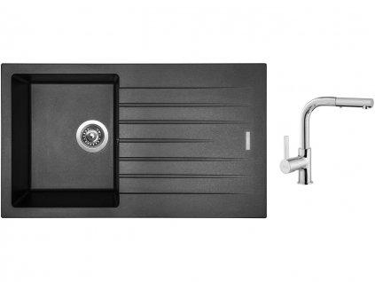 Granitový dřez Sinks PERFECTO 860 Metalblack + Dřezová baterie Sinks ENIGMA S chrom  + Čistící pasta Sinks na dřezy