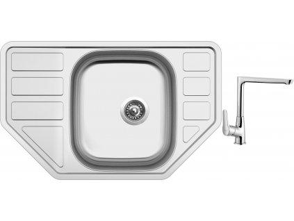 Nerezový dřez Sinks CORNO 770 V 0,6mm matný + Dřezová baterie Sinks baterie CASPIRA chrom
