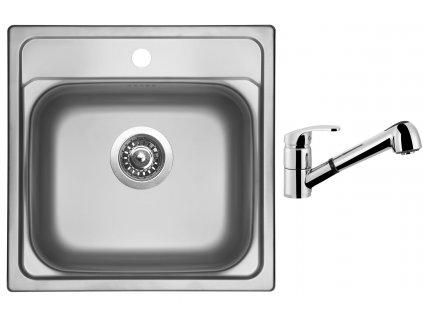 Nerezový dřez Sinks MANAUS 480 V 0,7mm leštěný + Dřezová baterie Sinks LEGENDA S Chrom