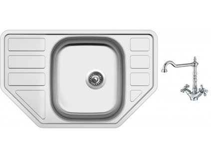 Nerezový dřez Sinks CORNO 770 V 0,6mm matný + Dřezová baterie Sinks RETRO 2000 lesklá