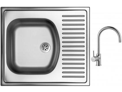 Nerezový dřez Sinks SHORT 580 M 0,5mm matný + Dřezová baterie Sinks VITALIA chrom
