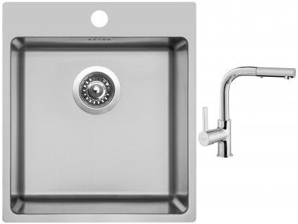 Nerezový dřez Sinks BLOCKER 450 V 1mm kartáčovaný + Dřezová baterie Sinks ENIGMA S chrom  + Čistící pasta Sinks na dřezy