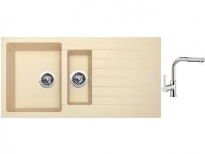 Granitový dřez Sinks PERFECTO 1000.1 Sahara + Dřezová baterie Sinks ENIGMA S chrom  + Čistící pasta Sinks na dřezy