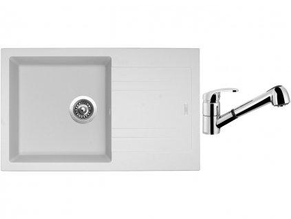 Granitový dřez Sinks LINEA 780 N Milk + Dřezová baterie Sinks LEGENDA S Chrom  + Čistící pasta Sinks na dřezy