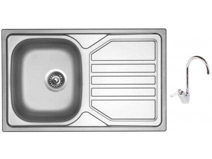 Nerezový dřez Sinks OKIO 800 V 0,7mm leštěný + Dřezová baterie Sinks RETRO 54 lesklá