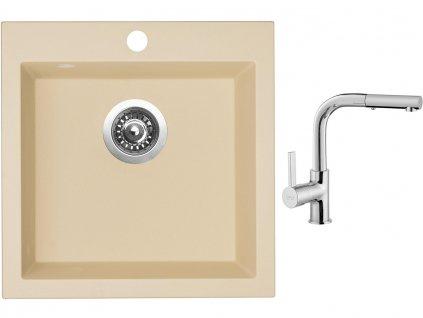 Granitový dřez Sinks VIVA 455 Sahara + Dřezová baterie Sinks ENIGMA S chrom  + Čistící pasta Sinks na dřezy