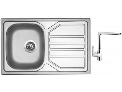 Nerezový dřez Sinks OKIO 800 V 0,7mm matný + Dřezová baterie Sinks baterie CASPIRA chrom