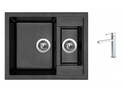 Granitový dřez Sinks CRYSTAL 615.1 Metalblack + Dřezová baterie Sinks BOX N.Y. PLAZA chrom  + Čistící pasta Sinks na dřezy
