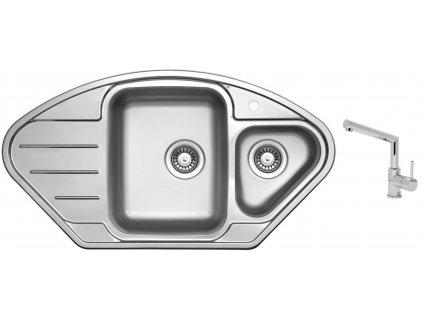 Nerezový dřez Sinks LOTUS 945.1 V 0,8mm leštěný + Dřezová baterie Sinks MIX 350 P chrom
