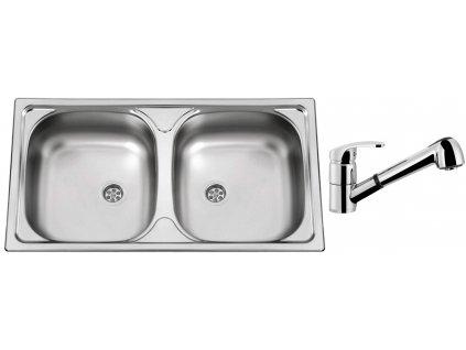 Nerezový dřez Sinks OKIO 780 DUO M 0,5mm matný + Dřezová baterie Sinks LEGENDA S Chrom