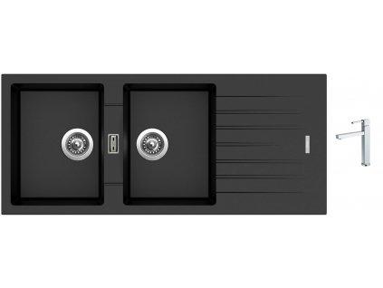 Granitový dřez Sinks PERFECTO 1160 DUO Metalblack + Dřezová baterie Sinks BOX N.Y. PLAZA chrom  + Čistící pasta Sinks na dřezy