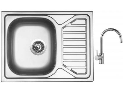 Nerezový dřez Sinks OKIO 650 V 0,6mm texturovaný + Dřezová baterie Sinks VITALIA chrom