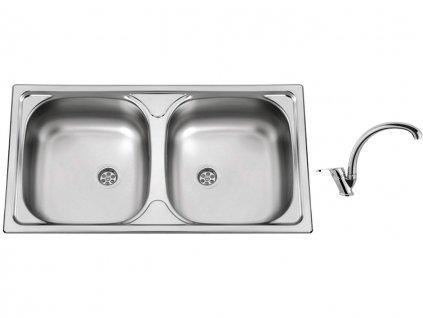 Nerezový dřez Sinks OKIO 780 DUO M 0,5mm matný + Dřezová baterie Sinks baterie EVERA chrom