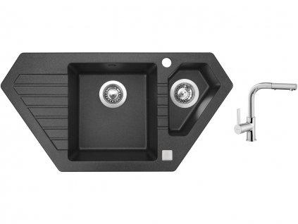 Granitový dřez Sinks BRAVO 850.1 Granblack + Dřezová baterie Sinks ENIGMA S chrom  + Čistící pasta Sinks na dřezy