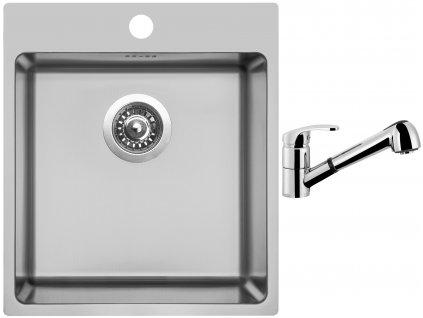 Nerezový dřez Sinks BLOCKER 450 V 1mm kartáčovaný + Dřezová baterie Sinks LEGENDA S Chrom  + Čistící pasta Sinks na dřezy